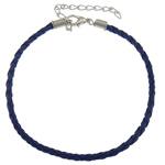 Byzylyk Moda Cord, PU, with Hekur, Shape Tjera, ngjyrë platin praruar, asnjë, blu të errët, 3mm, : 8Inç, 300Fillesat/Shumë,  Shumë