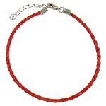 Byzylyk Moda Cord, PU, with Hekur, Shape Tjera, ngjyrë platin praruar, asnjë, i kuq, 3mm, :8Inç, 300Fillesat/Shumë,  Shumë
