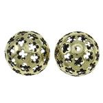 Beads Hollow tunxh, Round, Ngjyra antike bronz i praruar, i uritur, asnjë, , nikel çojë \x26amp; kadmium falas, 25mm, : 2.5mm, 10PC/Qese,  Qese