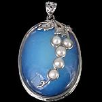 Deti Pendants opal, Deti Opal, with Pearl kulturuar ujërave të ëmbla & Tunxh, Oval Flat, ngjyrë platin praruar, asnjë, asnjë, 32x47x12mm, : 5x6mm, 5PC/Shumë,  Shumë