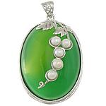E gjelbër varëse agat, Jeshile agat, with Pearl kulturuar ujërave të ëmbla & Tunxh, Oval Flat, ngjyrë platin praruar, asnjë, 32x47x12mm, : 5x6mm, 5PC/Shumë,  Shumë