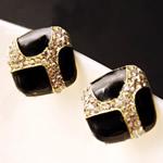 Një palë vathë Zink Alloy, Alloy zink, Romb, ngjyrë ari praruar, smalt & me diamant i rremë, asnjë, , nikel çojë \x26amp; kadmium falas, 18x18mm, 15Çiftet/Shumë,  Shumë