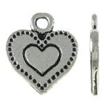 Pendants Heart Zink Alloy, Alloy zink, Zemër, Ngjyra antike argjendi praruar, asnjë, asnjë, , nikel çojë \x26amp; kadmium falas, 11.50x13x1mm, : 2mm, 1250PC/KG,  KG