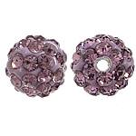 Diamant i rremë balta Beads hapë, Argjilë, Round, asnjë, me diamant i rremë, purpurtë drita, 10mm, PP17, : 2mm, 200PC/Qese,  Qese