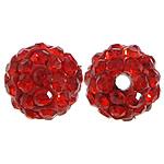 Diamant i rremë balta Beads hapë, Argjilë, Round, asnjë, me diamant i rremë, i kuq, 10mm, PP17, : 2mm, 200PC/Qese,  Qese