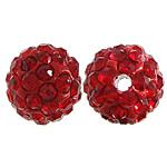 Diamant i rremë balta Beads hapë, Argjilë, Round, asnjë, me diamant i rremë, i kuq, 10mm, PP15, : 2mm, 200PC/Qese,  Qese