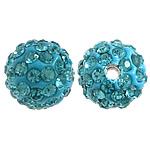 Diamant i rremë balta Beads hapë, Argjilë, Round, asnjë, me diamant i rremë, Ngjyrë gurkali, 10mm, PP12, : 2mm, 200PC/Qese,  Qese