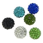 Diamant i rremë balta Beads hapë, Argjilë, Round, asnjë, me diamant i rremë, ngjyra të përziera, 10mm, PP12, : 2mm, 300PC/Qese,  Qese