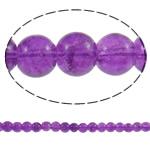 Glass Beads kërcitje, Xham, Round, asnjë, vjollcë, 6mm, : 1mm, : 31.5Inç, 10Fillesat/Qese, approx161Pcs/Strand,  Qese