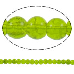 Knistern Glasperlen, Glas, rund, apfelgrün, 6mm, Bohrung:ca. 1mm, Länge:ca. 32.2 ZollInch, 10SträngeStrang/Tasche, verkauft von Tasche