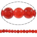Glass Beads kërcitje, Xham, Round, asnjë, i kuq, 6mm, : 1mm, : 31.5Inç, 10Fillesat/Qese, approx161Pcs/Strand,  Qese