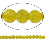Knistern Glasperlen, Glas, rund, gelb, 8mm, Bohrung:ca. 1mm, Länge:ca. 31.5 ZollInch, 10SträngeStrang/Tasche, verkauft von Tasche