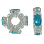 Beads Zink Alloy Spacer, Alloy zink, with Glass Pearl, Kryq, ngjyrë platin praruar, me xhami diamant i rremë, asnjë, , nikel çojë \x26amp; kadmium falas, 15x4.5mm, : 4.5mm, 10PC/Qese,  Qese