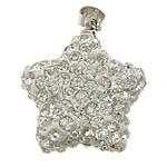 Varëse diamant i rremë, Argjilë, with Tunxh, Yll, ngjyrë platin praruar, me diamant i rremë, e bardhë, 19x22x9mm, PP14, : 4x5mm, 20PC/Qese,  Qese