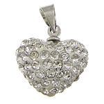 Varëse diamant i rremë, Argjilë, with Tunxh, Zemër, ngjyrë platin praruar, me diamant i rremë, e bardhë, 14x14x8mm, PP11, : 4x5mm, 50PC/Qese,  Qese