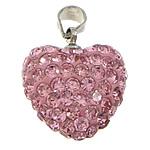 Varëse diamant i rremë, Argjilë, with Tunxh, Zemër, ngjyrë platin praruar, me diamant i rremë, rozë, 16x17x10mm, PP15, : 4x5mm, 30PC/Qese,  Qese