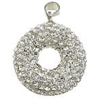 Varëse diamant i rremë, Argjilë, with Tunxh, Petull e ëmbël në formë gjevreku, ngjyrë platin praruar, me diamant i rremë, e bardhë, 20x23x8mm, PP11, : 4x5mm, 20PC/Qese,  Qese