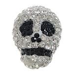 Diamant i rremë balta Beads hapë, Argjilë, Kafkë, asnjë, me diamant i rremë Çeke & smalt & gjysmë-shpuar, asnjë, 14x19x15mm, : 0.5mm, 5PC/Qese,  Qese