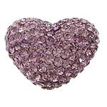 Diamant i rremë balta Beads hapë, Argjilë, Zemër, asnjë, me diamant i rremë & gjysmë-shpuar, vjollcë, 34x26x19mm, : 2mm, 20PC/Qese,  Qese