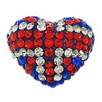 Diamant i rremë balta Beads hapë, Argjilë, Zemër, asnjë, me diamant i rremë & gjysmë-shpuar, multi-colored, 21x17x12mm, : 1mm, 30PC/Qese,  Qese