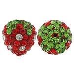 Diamant i rremë balta Beads hapë, diamant i rremë Shtrim bead, Lulushtrydhe, asnjë, gjysmë-shpuar, asnjë, 13x12x10mm, : 2mm, 50PC/Qese,  Qese