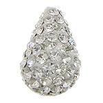 Diamant i rremë balta Beads hapë, diamant i rremë Shtrim bead, Lot, asnjë, gjysmë-shpuar, e bardhë, 10x16mm, : 0.5mm, 50PC/Qese,  Qese