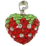 Varëse diamant i rremë, Argjilë, with Tunxh, Zemër, ngjyrë platin praruar, me diamant i rremë, asnjë, 16x17x11mm, : 4x5mm, 30PC/Qese,  Qese