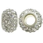 Tunxh Beads European, with Argjilë & Diamant i rremë, Rondelle, ngjyrë platin praruar, core bronzi vetme pa karrem, e bardhë, , nikel çojë \x26amp; kadmium falas, 7x11mm, : 4mm, 50PC/Qese,  Qese