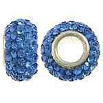 Tunxh Beads European, with Argjilë & Diamant i rremë, Rondelle, ngjyrë platin praruar, core bronzi vetme pa karrem, blu, , nikel çojë \x26amp; kadmium falas, 7x13mm, : 5mm, 50PC/Qese,  Qese
