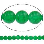 Glass Beads kërcitje, Xham, Round, asnjë, e gjelbër, 10mm, : 1.5mm, : 31.5Inç, 10Fillesat/Qese, approx83Pcs/Strand,  Qese