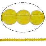 Glass Beads kërcitje, Xham, Round, asnjë, i verdhë, 5mm, : 1mm, : 31.5Inç, 10Fillesat/Qese, approx210Pcs/Strand,  Qese