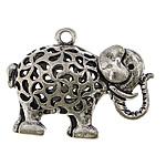 Pendants Zink Alloy Kafshëve, Alloy zink, Elefant, Ngjyra antike argjendi praruar, i uritur, asnjë, , nikel çojë \x26amp; kadmium falas, 34x26x13mm, : 2.5mm, 50PC/Qese,  Qese