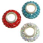 Tunxh Beads European, with Argjilë & Diamant i rremë, Rondelle, ngjyrë platin praruar, core bronzi vetme pa karrem, ngjyra të përziera, , nikel çojë \x26amp; kadmium falas, 7x13mm, : 5mm, 50PC/Qese,  Qese