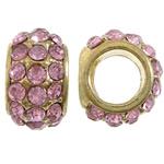 Tunxh Beads European, Rondelle, ngjyrë ari praruar, core bronzi vetme pa karrem & me diamant i rremë, asnjë, , nikel çojë \x26amp; kadmium falas, 8.50x12x14mm, : 7mm, 6mm, 100PC/Qese,  Qese