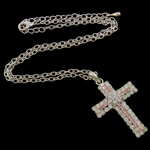 Handmade Brass Necklace, Cross, with rhinestone & lobster clasp & 7 cm extender chain, silver color plated, nickel, lead & cadmium free, 28x47x5.5mm, Sold per approx16 Inch Strand