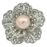 Pearl ujërave të ëmbla karficë, Pearl kulturuar ujërave të ëmbla, with Alloy zink, Lule, ngjyrë platin praruar, me diamant i rremë, asnjë, 36.50x35x18mm,  PC