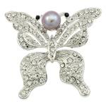 Karficë zbukurimi diamant i rremë, Pearl kulturuar ujërave të ëmbla, with Alloy zink, Flutur, ngjyrë platin praruar, me diamant i rremë, asnjë, 59x57x17.50mm,  PC