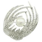 Karficë zbukurimi diamant i rremë, Pearl kulturuar ujërave të ëmbla, with Alloy zink, Shape Wing, ngjyrë platin praruar, me diamant i rremë, asnjë, 43x54x22mm,  PC