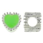 Beads European aliazh zink, Alloy zink, Zemër, Ngjyra argjend praruar, pa karrem & smalt, e gjelbër, , nikel çojë \x26amp; kadmium falas, 10x11x9mm, : 5mm, 10PC/Qese,  Qese