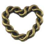 Alloy zink Lidhja Ring, Zemër, Ngjyra antike bronz i praruar, asnjë, asnjë, , nikel çojë \x26amp; kadmium falas, 21x21mm, 250PC/Qese,  Qese