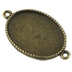 Zink Alloy Connector Setting, Alloy zink, Oval Flat, Ngjyra antike bronz i praruar, 1/1 loop, asnjë, , nikel çojë \x26amp; kadmium falas, 35x20.50mm, : 2mm, : 18x25mm, 200PC/Qese,  Qese