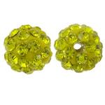 Diamant i rremë balta Beads hapë, Argjilë, Round, asnjë, me diamant i rremë, Ngjyrë limoni, 8mm, : 1.5mm, 50PC/Qese,  Qese