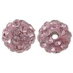 Diamant i rremë balta Beads hapë, Argjilë, Round, asnjë, me diamant i rremë, trëndafili dritë, 8mm, : 1.5mm, 50PC/Qese,  Qese
