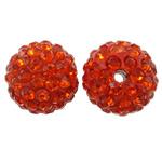 Diamant i rremë balta Beads hapë, Argjilë, Round, asnjë, me diamant i rremë, portokalli thellë kuqalashe, 12mm, : 2mm, 50PC/Qese,  Qese