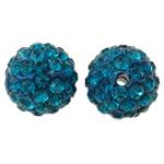 Diamant i rremë balta Beads hapë, Argjilë, Round, asnjë, me diamant i rremë, Indicolite, 12mm, : 2mm, 50PC/Qese,  Qese