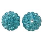 Diamant i rremë balta Beads hapë, Argjilë, Round, asnjë, me diamant i rremë, acid blu, 12mm, : 2mm, 50PC/Qese,  Qese
