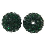 Diamant i rremë balta Beads hapë, Argjilë, Round, asnjë, me diamant i rremë, jeshile të thellë, 12mm, : 2mm, 50PC/Qese,  Qese