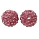 Diamant i rremë balta Beads hapë, Argjilë, Round, asnjë, me diamant i rremë, dritë e kuqe, 12mm, : 2mm, 50PC/Qese,  Qese