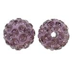 Diamant i rremë balta Beads hapë, Argjilë, Round, asnjë, me diamant i rremë, purpurtë drita, 10mm, : 1.5mm, 50PC/Qese,  Qese
