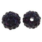Diamant i rremë balta Beads hapë, Argjilë, Round, asnjë, me diamant i rremë, vjollcë e errët, 10mm, : 1.5mm, 50PC/Qese,  Qese